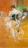 Elles: Woman in a Corset - Henri De Toulouse-Lautrec Oil Painting