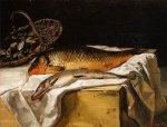 Still Life with Fish - Jean Frederic Bazille Oil Painting,