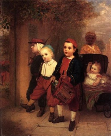 Young Recruits - John George Brown Oil Painting