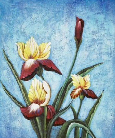 Irises Blooming - Oil Painting Reproduction On Canvas