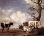 Four Bulls - Paulus Potter Oil Painting