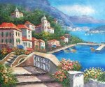Greek Harbor - Oil Painting Reproduction On Canvas