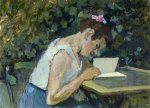 Woman Reading in a Garden - Oil Painting Reproduction On Canvas