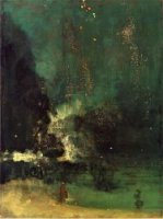 Nocturne in Black and Gold: The Falling Rocket - James Abbott McNeill Whistler Oil Painting