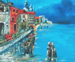 Venetian Dock - Oil Painting Reproduction On Canvas