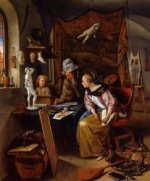 The Drawing Lesson - Oil Painting Reproduction On Canvas Jan Steen oil painting