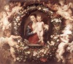 Madonna in Floral Wreath - Peter Paul Rubens Oil Painting