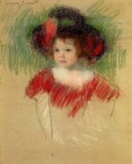 Margot in Big Bonnet and Red Dress II - Mary Cassatt Oil Painting
