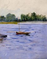 Boat at Anchor on the Seine - Gustave Caillebotte Oil Painting