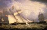 American Schooner under Sail with Heavy Seas - Robert Salmon Oil Painting