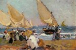 Sailing Vessels on a Breezy Day, Valencia - Joaquin Sorolla y Bastida Oil Painting