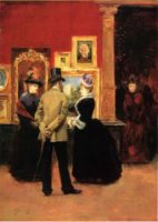 Count Ludovic Leic and Ladies Viewing an Exhibition - Julius LeBlanc Stewart Oil Painting