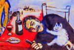 Man at table - Marc Chagall Oil Painting