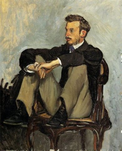 Portrait of Renoir - Jean Frederic Bazille Oil Painting