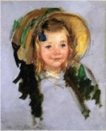 Sara in a Bonnet - Mary Cassatt Oil Painting
