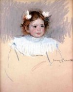 Ellen with Bows in Her Hair, Looking Right - Mary Cassatt Oil Painting