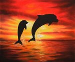 Dolphins III - Oil Painting Reproduction On Canvas
