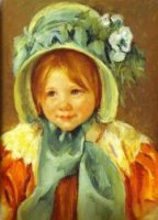 Sarah in a Green Bonnet - Mary Cassatt Oil Painting