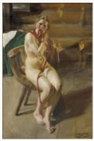 Nude woman arranging her hair - Anders Zorn Oil Painting