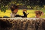 Reading a Story - James Tissot Oil Painting