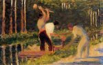 Men Laying Stakes - Georges Seurat Oil Painting