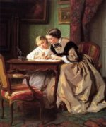 The Lesson -Jules Trayer Oil Painting
