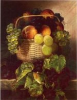 Still Life with Grapes. Plums and Peaches in a Basket - William Mason Brown Oil Painting