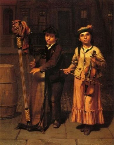 The Two Musicians - John George Brown Oil Painting