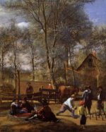 Skittle Players outside an Inn - Jan Steen oil painting