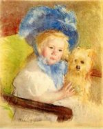 Simone in a Large Plumed Hat, Seated, Holding a Griffon Dog - Mary Cassatt Oil Painting