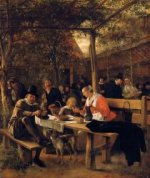 The Garden outside an Inn - Jan Steen oil painting