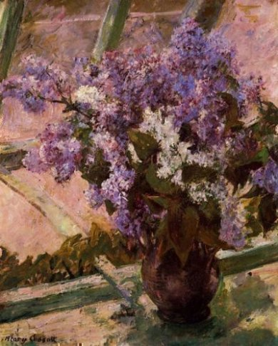Lilacs in a Window - Mary Cassatt Oil Painting