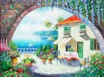 Cafe At Oceanside - Oil Painting Reproduction On Canvas