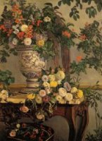 Flowers - Jean Frederic Bazille Oil Painting