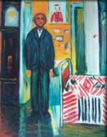 Self Portrait: Between Clock and Bed - Edvard Munch Oil Painting