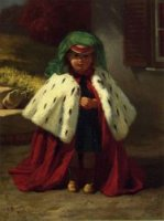 Little Girl with Ermine Coat - John George Brown Oil Painting