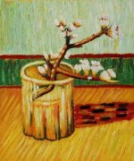 Blossoming Almond Branch in a Glass II - Vincent Van Gogh Oil Painting