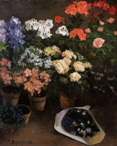 Study of Flowers - Jean Frederic Bazille Oil Painting