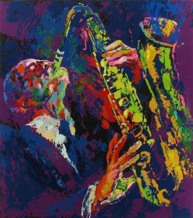 SAX MAN - Leroy Nieman Oil Painting