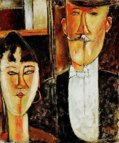 Bride and Groom II - Amedeo Modigliani Oil Painting