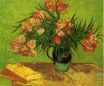 Vase with Oleanders and Books - Vincent Van Gogh Oil Painting