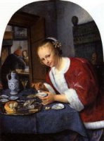 Girl Offering Oysters - Oil Painting Reproduction On Canvas