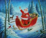 Santa Claus in His Carriage - Oil Painting Reproduction On Canvas