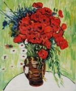 Vase with Daisies and Poppies - Vincent Van Gogh Oil Painting