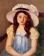 Francoise Wearing a Big White Hat - Mary Cassatt Oil Painting