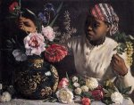 African Woman with Peonies - Oil Painting Reproduction On Canvas