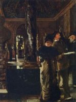 Foreign Visitors at The Louvre - James Tissot Oil Painting