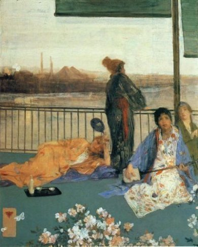 Variations in Flesh Colour and Green: The Balcony - James Abbott McNeill Whistler Oil Painting,