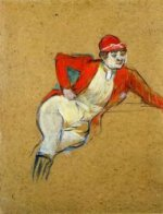 La Macarona in Riding Habit - Henri De Toulouse-Lautrec Oil Painting