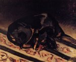 The Dog Rita Asleep - Jean Frederic Bazille Oil Painting